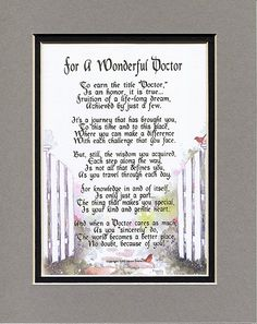 For a Wonderful Doctor Poem by Genie Graveline. Doctors Day ideas. Appreciation gifts for doctors.