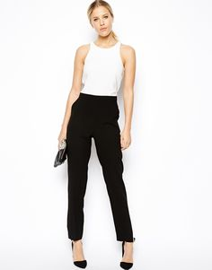 Image 4 of ASOS Jumpsuit with Chic Racer Detail in Monochrome
