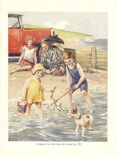 Vintage 1930s Childrens Print Paddling At The Seaside Shrimping Net Sitting On The Beach Art Deco Fashion Book Plate Book Illustration on Etsy, $11.97