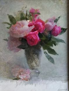 Pink and Red by Richard Kochenash, Oil, 18 x 14 Pictures To Paint, Painting Inspiration, Still Life, Pink Flowers, Peonies, Oil On Canvas, Beautiful Flowers, Fine Art, Abstract