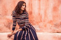Jacquard knitwear separates by Alice Temperley in the Autumn 2018 #SheWhoDaresWins campaign