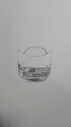 Les 1.Ik ben hier bezig met de bodem van het glas en het lijkt nog niet helemaal maar later ga je het beter kunnen zien.