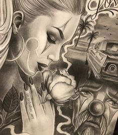 Chicano Style Tattoo, Chicano Love, Chicano Tattoos, Body Art Tattoos, Gangster Drawings, Chicano Drawings, Art Drawings, Lowrider Drawings, Lowrider Tattoo