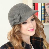 Bow spring and autumn winter woolen baseball cap casual cap millinery lady hat for women