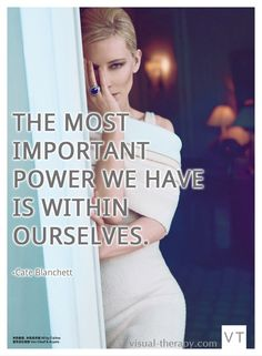 Cate Blanchett Quote about power. Wearing Celine for Harpers Bazaar China.