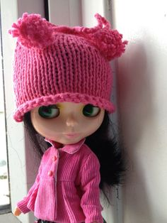 Knitted Hat For Blythe - Hot Pink on Etsy, £4.89