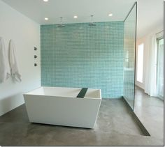 Turquoise bathroom feature wall