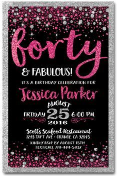 Pink & Black Forty and Fabulous 40th Birthday Invitations [DI-445] : Custom Invitations and Announcements for all Occasions, by Delight Invite