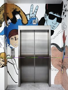 elevator at the jwt amsterdam office by by alrik koudenburg and rjw elsinga embraces artful creativity the advertising firm is located in busy leidseplein ad agency surprising office