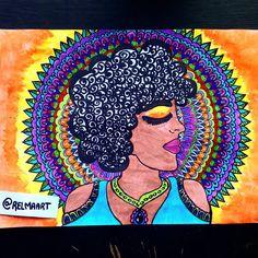 """18 curtidas, 1 comentários - @relmaart no Instagram: """"#aquarela #arte #black #blackart #blackpower #blackgirl #mandalaart #mandalas #draw 💙💙🌞"""""""