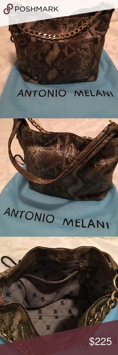Antonio Melani | Snakeskin Shoulder Bag Ole new, excellent condition! Beautiful bag with gold toned hardware. One large front pocket with magnetic closure. Interior has one zippered pocket as well as 2 slip pockets. Lining is a tan colored fabric with black monogram AM. No stains, rips, or tears. Comes with AM dust bag! Let me know if you have any questions! Bundle to save & happy Poshing! ANTONIO MELANI Bags Shoulder Bags