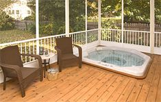 screened in deck with a hot tub ... love love love