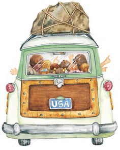 Another lovely whimsical illustration by Susan Branch My grandmother took me everywhere with her in the late 1940's/50's in her woody!! Thank you Susan Branch for such a warm memory!!