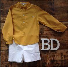 Conjunto pantalón blanco loneta, camisa mostaza detalle en cuello y puños. Outlet, Sweatshirts, Sweaters, Jackets, Fashion, Little Girl Clothing, Fashion Clothes, Spring Summer, Shirts