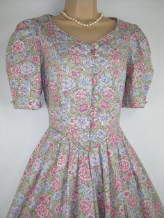 LAURA ASHLEY Vintage English Summer Meadow Flowers Tea Dress, UK 8/10