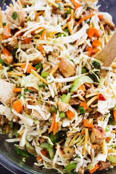 CHOPPED ASIAN SALAD – shredded green cabbage, carrots, celery, green onions, cilantro, crunchy chow mein noodles and Sweet Ginger Chili Lime dressing. It's full of flavor, easy to prepare and ready in less than 20 minutes. We lived with my parents for a while, almost over a year ago now while our home was being …