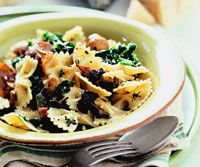 Farfalle with Mushrooms and Spinach...use whole wheat or multi grain pasta or ghnocci