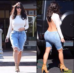 Kim K high back cropped top and destructed demon capris