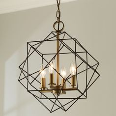 Structural Cubic Cage Lantern matte_black_and_antique_brass