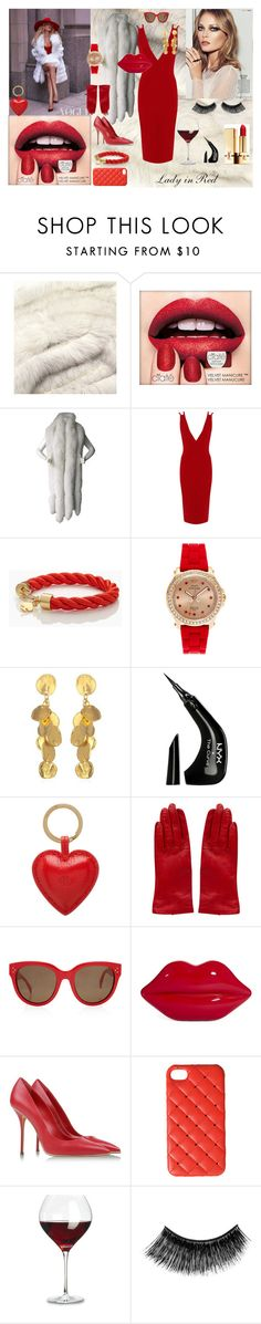 """""""Lady in Red"""" by anas-annais ❤ liked on Polyvore featuring Gucci, Ciaté, Rare London, Kate Spade, Juicy Couture, NYX, Mulberry, Rachel Comey, CÉLINE and Lulu Guinness"""