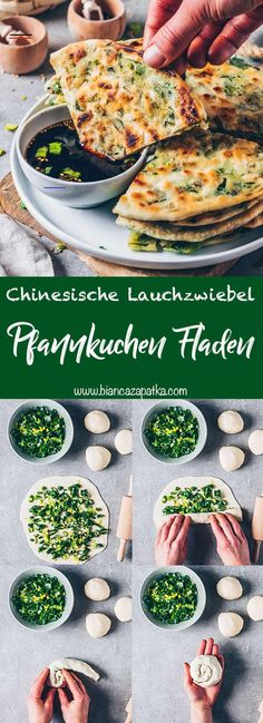 Pfannkuchen mit Lauchzwiebeln (Chinesische Art) look Hearty spring onion pancakes (Chinese pancakes) are a popular dish in China and are made from only 3 ingredients in a special way. They taste Best Vegan Recipes, Lunch Recipes, Asian Recipes, Mexican Food Recipes, Vegetarian Recipes, Breakfast Recipes, Cooking Recipes, Healthy Recipes, Cooking Cake
