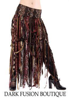 Skirt, Browns, Cabaret, Vaudeville, Steampunk, Noir, Gothic, Tribal, BellyDance, Dark Fusion Boutique. $65.00, via Etsy.