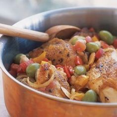 I love a recipe that combines chicken with olives.  Spanish Chicken Stew | Williams-Sonoma
