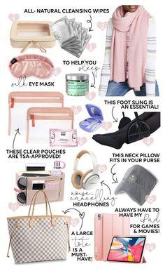 Travel Essentials For Women, Road Trip Essentials, Carry On Bag Essentials, Airplane Essentials, Airplane Hacks, Travel Necessities, Travel Bags For Women, Outfit Essentials, Carry On Packing