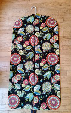 Garment Bag, Hanging Garment Bag, Black Floral by CarryItWell on Etsy Rebecca Brown, Etsy Cards, College Gifts, Garment Bags, Grosgrain Ribbon, Black Backgrounds, Cotton Fabric, Sorority, Turquoise