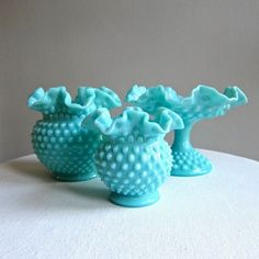 Aqua milk glass | Fenton hobnail turquoise milk glass