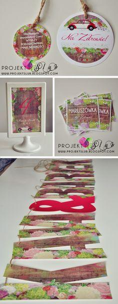 projekt ŚLUB - zaproszenia ślubne, oryginalne, nietypowe dekoracje i dodatki na wesele: styl rustykalny