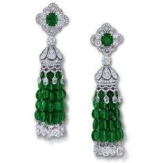 Graff. Diamond & emerald tassel earrings...♡