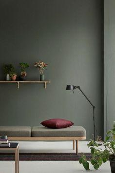 style minimaliste salon mur gris avec étagère
