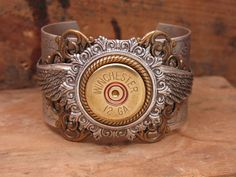 Shotgun Casing Jewelry - 12 Gauge Shotgun Shell Steampunk Inspired Mixed Metal Cuff Bracelet