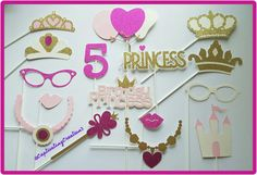 Items similar to Personalized Princess Photo Booth Props on Etsy Pink Princess Party, Princess Photo, Princess Theme, Princess Birthday, Girl Birthday, Sofia The First Birthday Party, 4th Birthday Parties, Photo Booth Props, Photobooth Idea