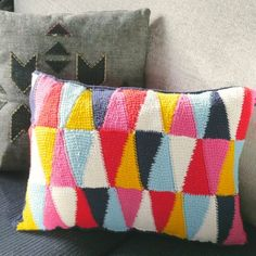 Add some color to your living space with this fun, bold cushion, using Tunisian crochet.