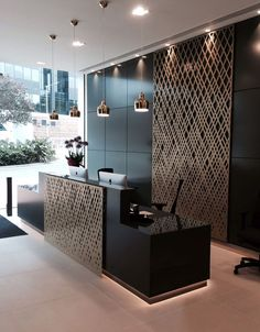 Aberdeen Asset Management reception, London. Laser cut screens, Weave design by Miles and Lincoln www.delightfull.eu
