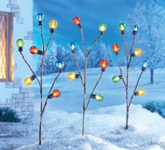 Set of 3 Holiday Lighted Bulb Stakes