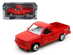 1992 Chevrolet SS 454 Pickup Truck Red 1/24 Diecast Model by Motormax - Brand new 1:24 scale diecast model car of 1992 Chevrolet SS 454 Pickup Truck Red die cast car model by Motormax. Brand new box. Rubber tires. Has opening doors, hood and rear gate. Made of diecast with some plastic parts. Detailed interior, exterior, engine compartment. Dimensions approximately L-7.5, W-3, H-2.5 inches. Please note that manufacturer may change packing box at anytime. Product will stay exactly the…