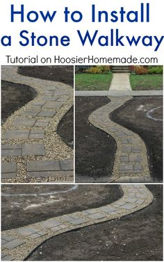 This step-by-step tutorial will help you install a stone walkway in your yard to add curb appeal. Outdoor Projects, Garden Projects, Outdoor Ideas, Garden Ideas, Outdoor Decor, Lawn And Garden, Garden Paths, Side Garden, Pierre Decorative