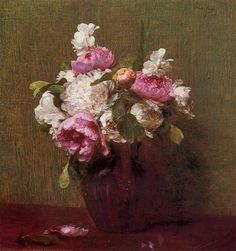 White Peonies and Roses, Narcissus 1879 by French Painter Henri Fantin-Latour 1836-1904