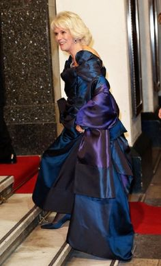 Camilla, Duchess of Cornwall dazzles in a midnight blue evening gown by Vivienne Westwood at the Royal Variety Performance, 25.11.13