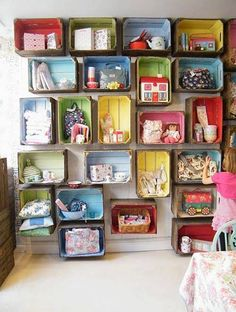 Wall Storage Kids Room 18 - Craft and Home Ideas Kids Bedroom Storage, Kids Storage, Toy Storage, Storage Ideas, Storage Units, Storage Design, Tips And Tricks, Crate Storage, Wall Storage