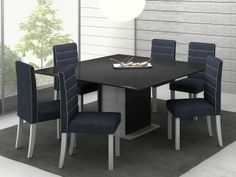 Conjunto de Mesa com 6 Cadeiras Estofadas Madesa - Valverde