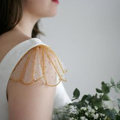 Bridal capelet, Detachable sleeves, Detachable straps for bridal gown, Shoulder jewelry wedding dress, Bridal cape vail S PIA GOLD Detachable Wedding Dress, Wedding Dresses With Straps, Detachable Collar, Sari Blouse Designs, Fancy Blouse Designs, Sleeves Designs For Dresses, Sleeve Designs, Embroidery Dress, Beaded Embroidery