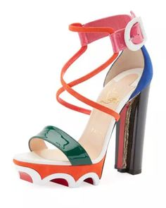 6c0b305ad Olympika Colorblock Red Sole Sandal, Multi Red Block Heel Sandals, Red  Sandals, Open