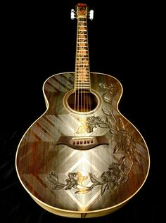 "Custom Made Blueberry ""Floral"" Motif Acoustic Guitar"