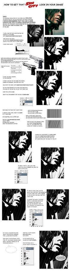 yepp...the first ever tutorial by me....agian the tutorial is true to the comic look of sincity and not the one as seen in the movie the reference pic was taken from this Featured in Photoshop User...