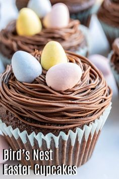 These easy Bird's Nest Easter Cupcakes take a simple cupcake recipe and turns it into a special dessert for your Easter table. Easy Easter Desserts, Easy No Bake Desserts, Easter Treats, Easter Recipes, Holiday Desserts, Easter Food, Easter Deserts, Easter Dinner, Easter Brunch