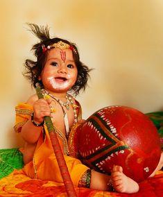 Janmashtami marks the celebration of the birth of Bhagavan Sri avatar means Sri Krishna. Sri avatar was born on the 'Rohini' nakshetra (star) on Ashtami day. This competition is additionally called Sri avatar Jayanti( Sri Krishna Jayanti) and Janmashtami. Happy Janmashtami Image, Janmashtami Images, Janmashtami Wishes, Hare Krishna, Krishna Ashtami, Baby Boy Photography, Children Photography, Sri Krishna Janmashtami, Janmashtami Celebration